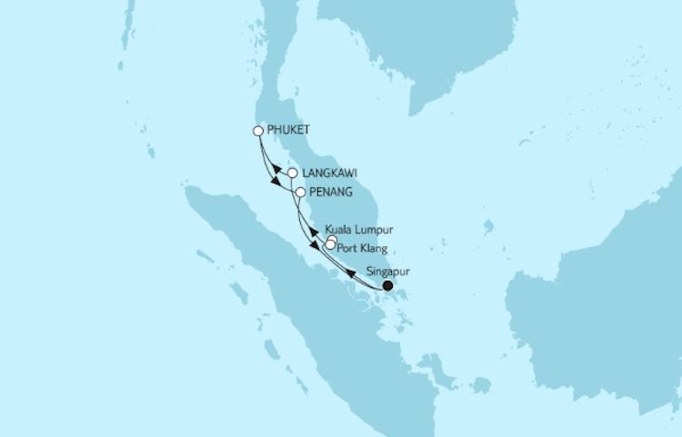 Kreuzfahrtroute Asien mit Malaysia
