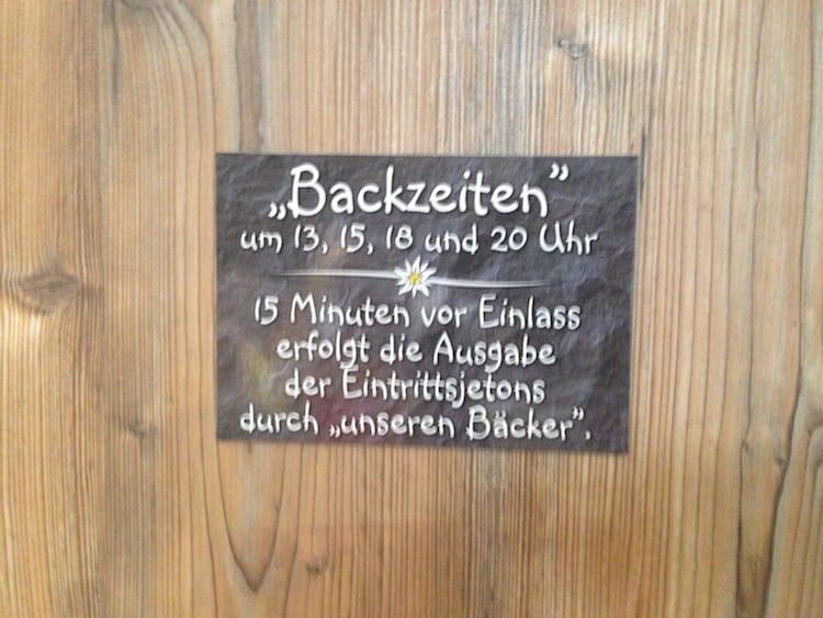 """Die """"Backzeiten"""" für die Sauna Backofen"""